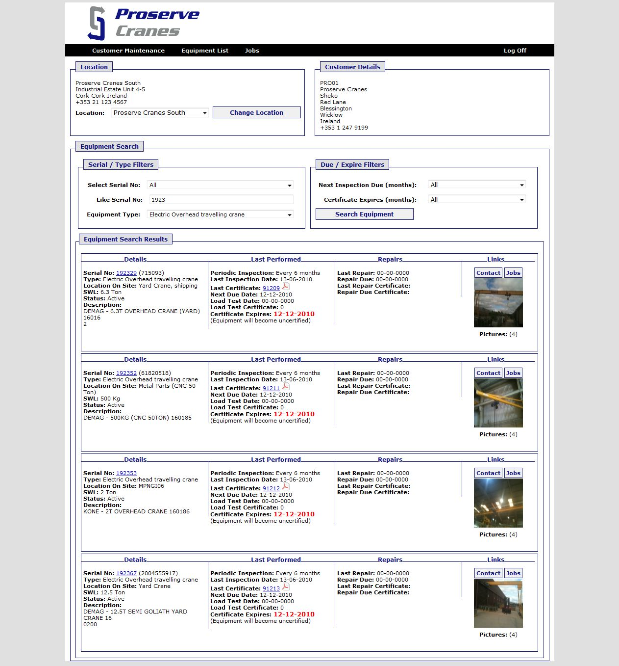 Online Equipment Database